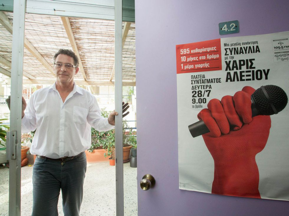 Alegría entre los votantes de Syriza.Arvanitis fue despedido de la televisión pública.