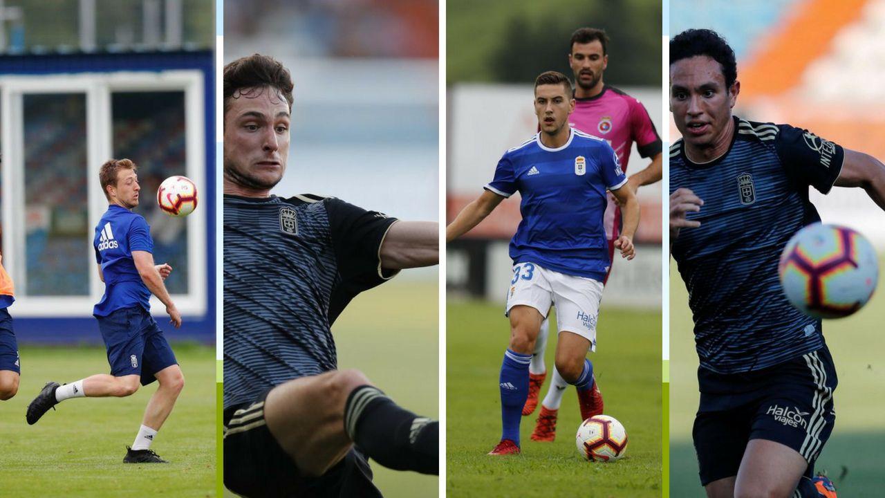 Alfonso Herrero Folch Cotugno Real Oviedo Huesca Carlos Tartiere.Cortina, Borja, Javi Hernández y Steven