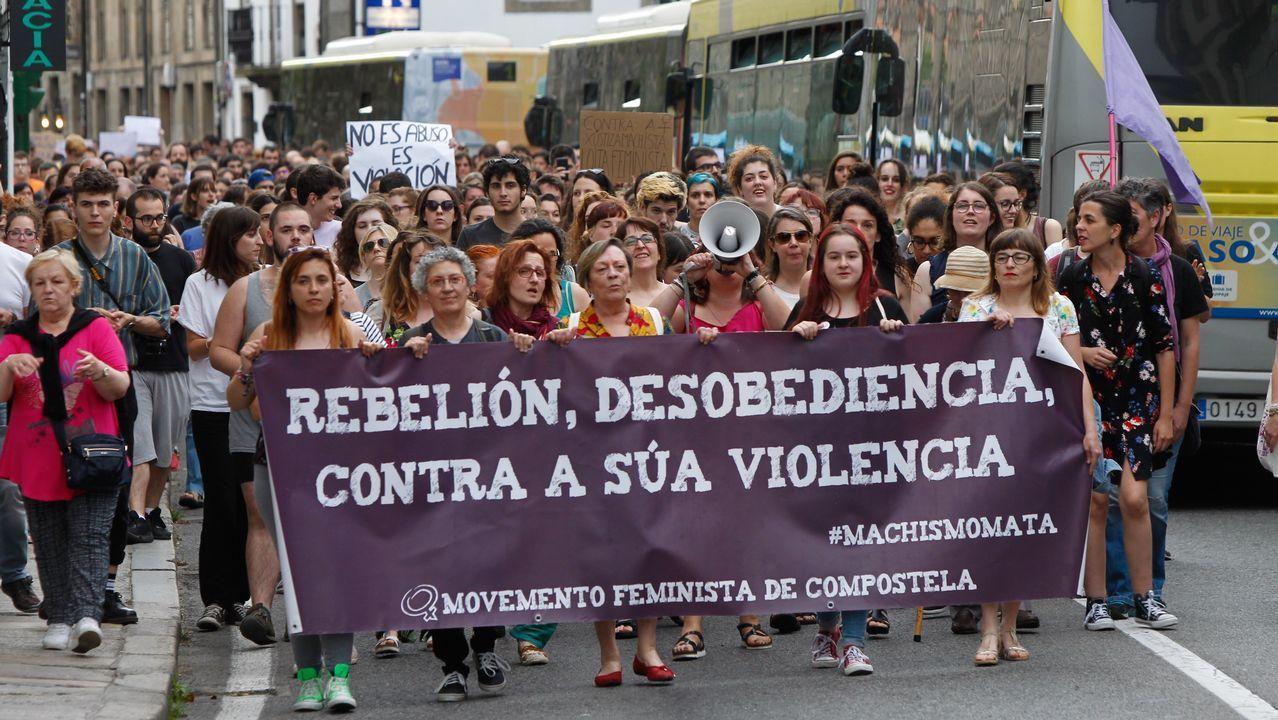 .Manifestación en Santiago contra el autor de libertad de La Manada
