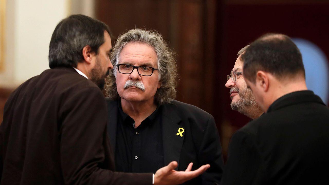 Andrea Viñamata, Mario Muñoz, Elisenda Paluzie y Pep Cruanyes (ANC), hoy en rueda de prensa