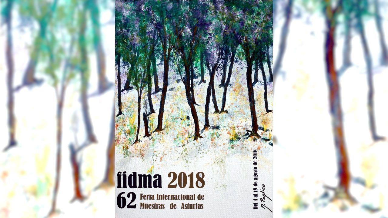 Cartel de M. Ponticu anunciador de la 62 Feria Internacional de Muestras de Asturias