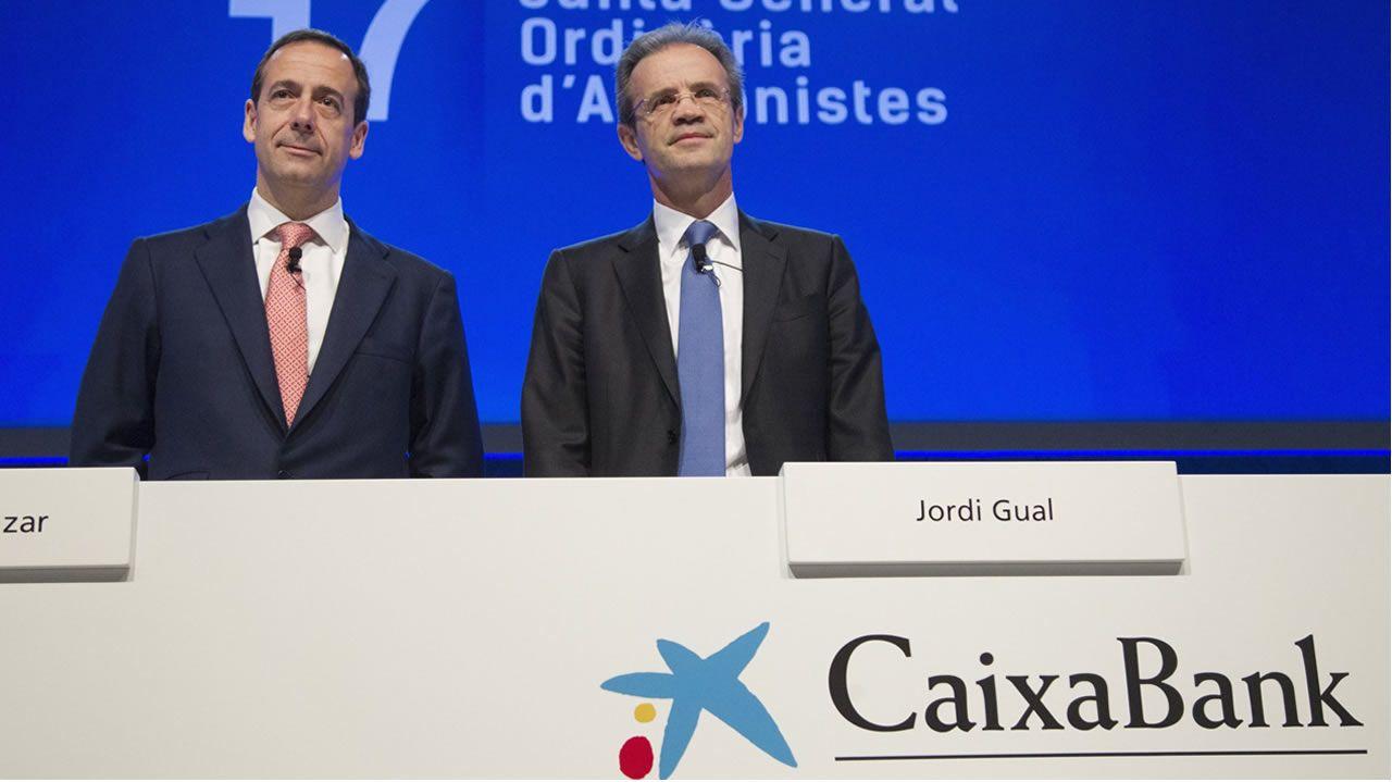 El presidente de la Federación Asturiana de Empresarios (Fade), Pedro Luis Fernández.El consejero delegado de CaixaBank, Gonzalo Gortázar, y el presidente de CaixaBank, Jordi Gual