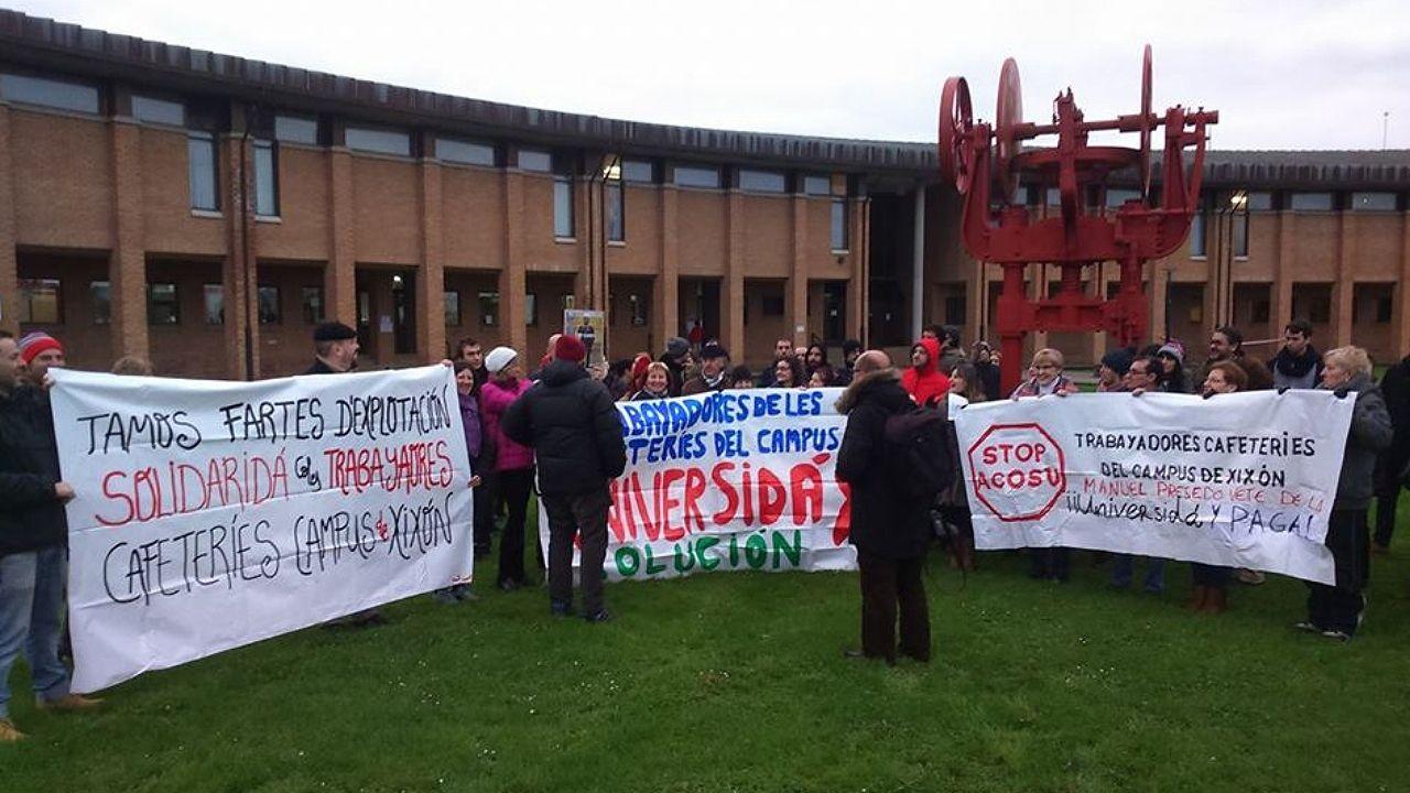 Una de las protestas en apoyo a las trabajadoras de las cafeterías del campus