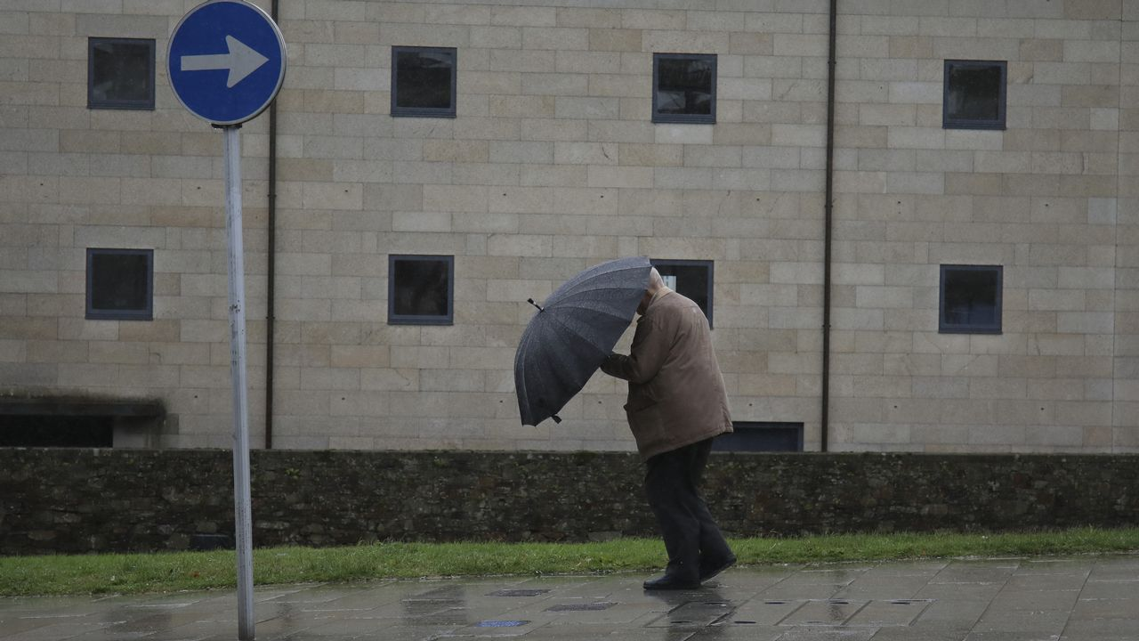 Fuertes lluvias y vientos a causa del temporal en Santiago.