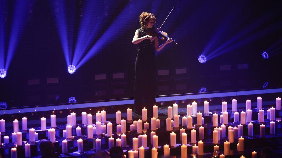 .La violinista Lindsey Stirling, ayer en un homenaje en Berlín en los premios de la academia alemana de la música.