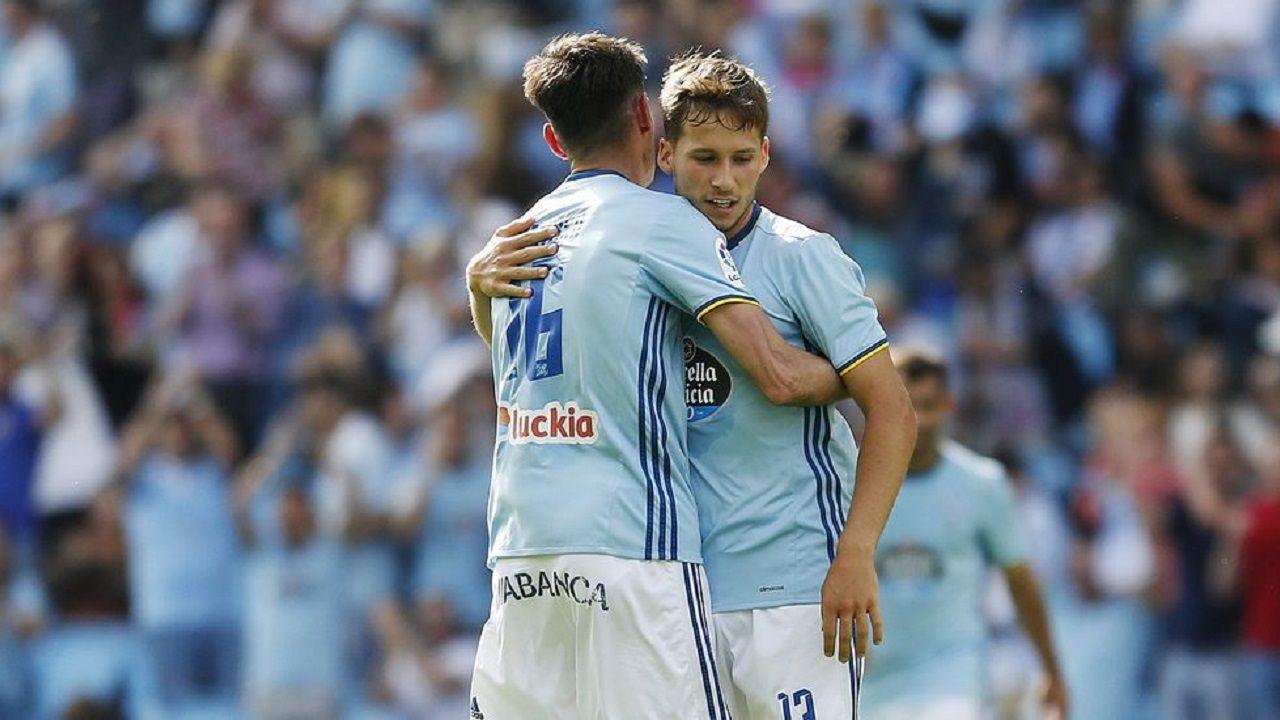 Hjulsager Celta Real Oviedo.Hjulsager, durante un partido con el Celta