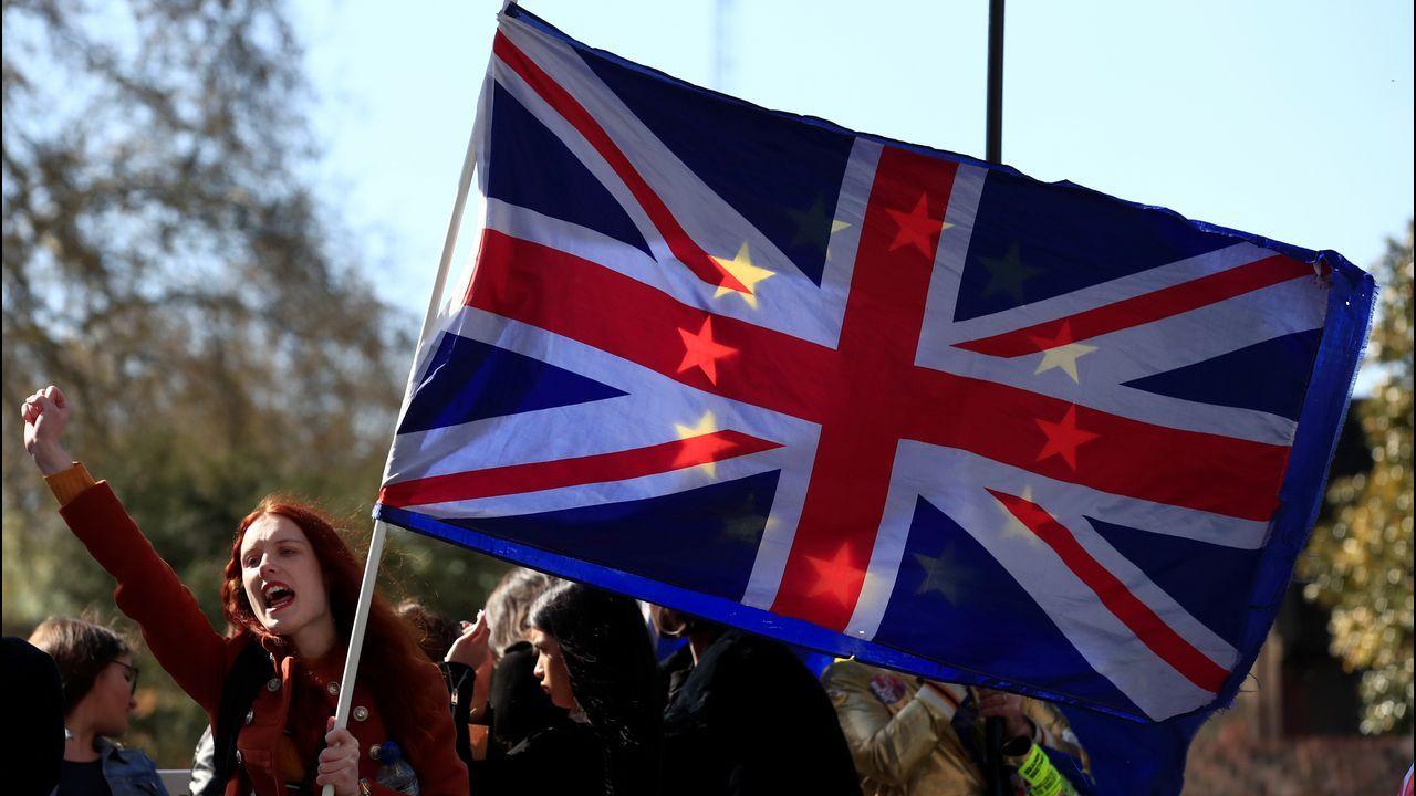 Protestas de grupos ecologistas en Londres.Una activista «antibrexit» en una de las habituales protestas frente a Westminster