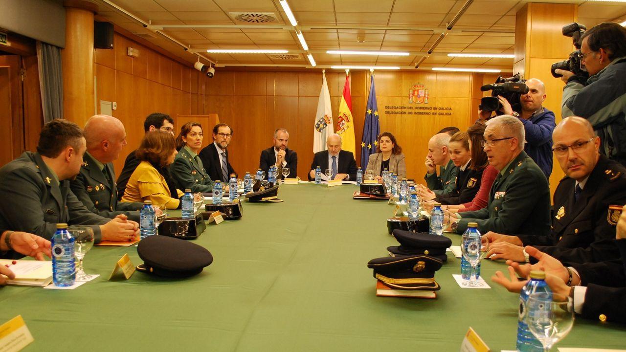 Redada antidroga en O Vao.Reunión en la Delegación del Gobierno de la comisión de seguimiento del plan de seguridad escolar del Ministerio del Interior