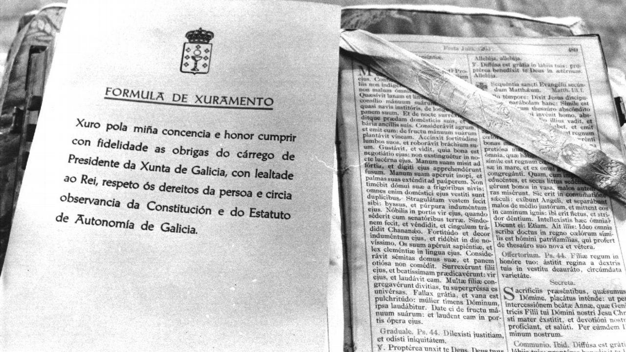 .Vista de la fórmula de juramento del cargo que tuvo que leer Gerardo Fernandez Albor como presidente de la Xunta
