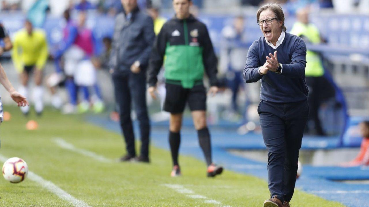 Joselu Requexon Real Oviedo.Anquela en el Oviedo-Albacete