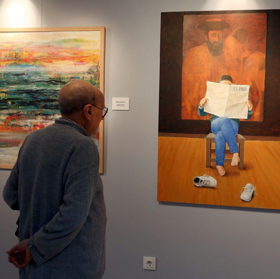 Cristian Gálvez descubre el verdadero rostro de Leonardo da Vinci.La muestra del barbanzano puede verse hasta el día 28 en el Lustres Rivas