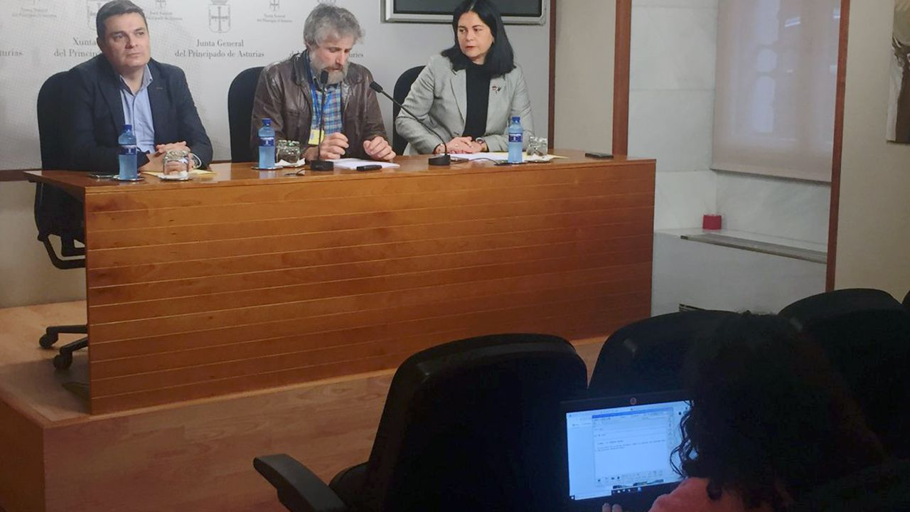 Xuan Valladares, rodeado de Pedro de Rueda (PP) y de Carmen Fernández (Foro)