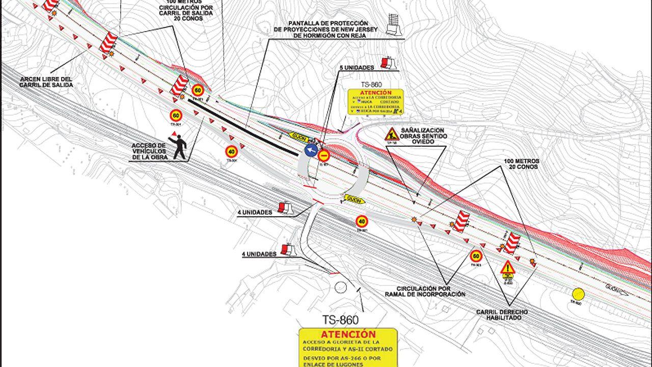 La obra de construcción del acceso al nuevo HUCA obliga a desviar el tráfico de la AS-II, en dirección a Gijón.La obra de construcción del acceso al nuevo HUCA obliga a desviar el tráfico de la AS-II, en dirección a Gijón