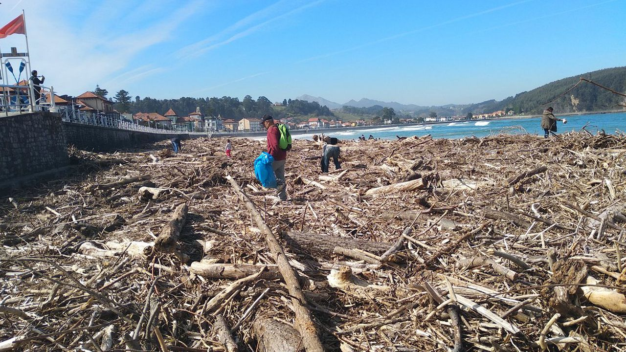 Descenso Internacional del Sella 2016.La playa de Ribadesella, llena de madera arrastrada por las riadas
