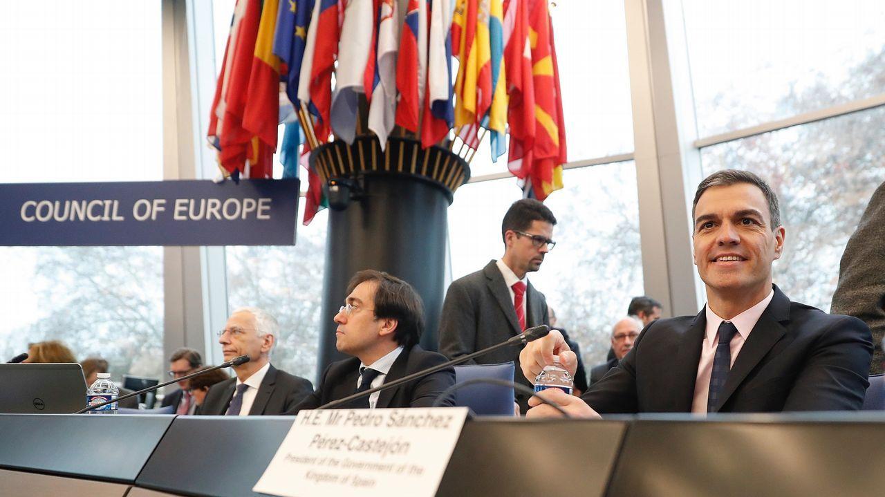 Manifestación por la unidad de España en Oviedo.El presidente Pedro Sánchez durante su intervención hoy en el Comité de Ministros del Consejo de Europa en Estrasburgo