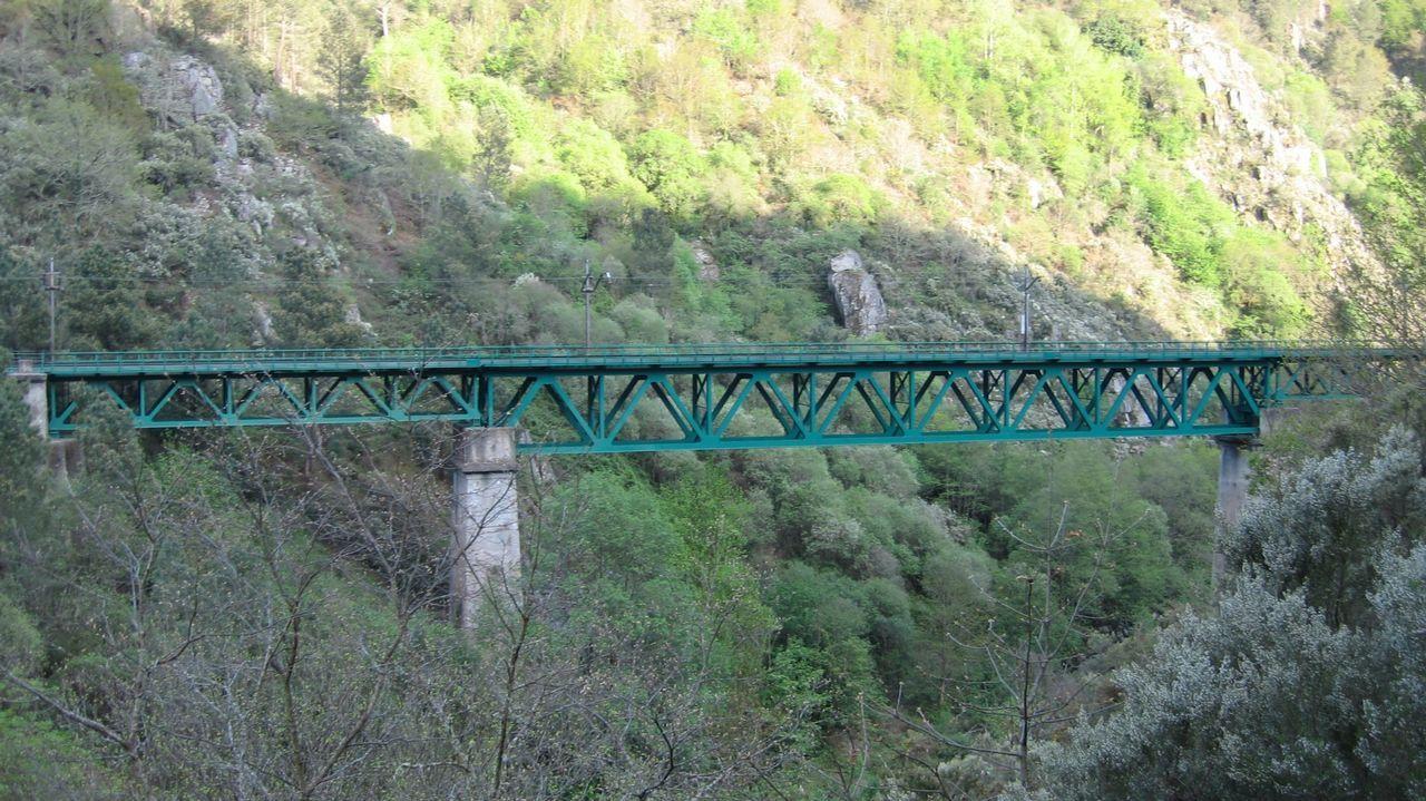 El puente ferroviario sobre el río Cabe, cerca de Monforte