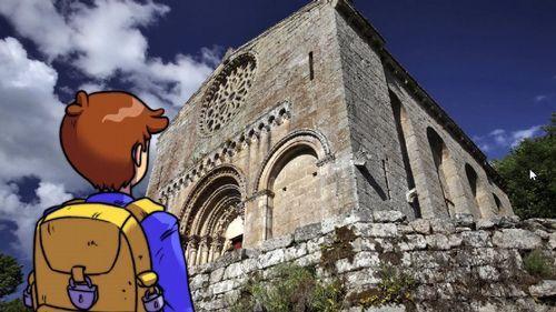 La primavera colorea Galicia.Captura de un vídeo de presentación de las rutas «Búskalo en Ribeira Sacra», con una imagen de la iglesia románica de Santo Estevo de Ribas de Miño, en O Saviñao