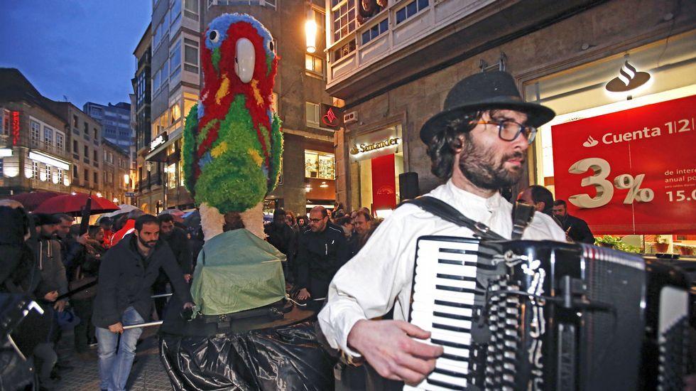 Presentación del loro Ravachol contra el tarifazo, en el carnaval de Pontevedra