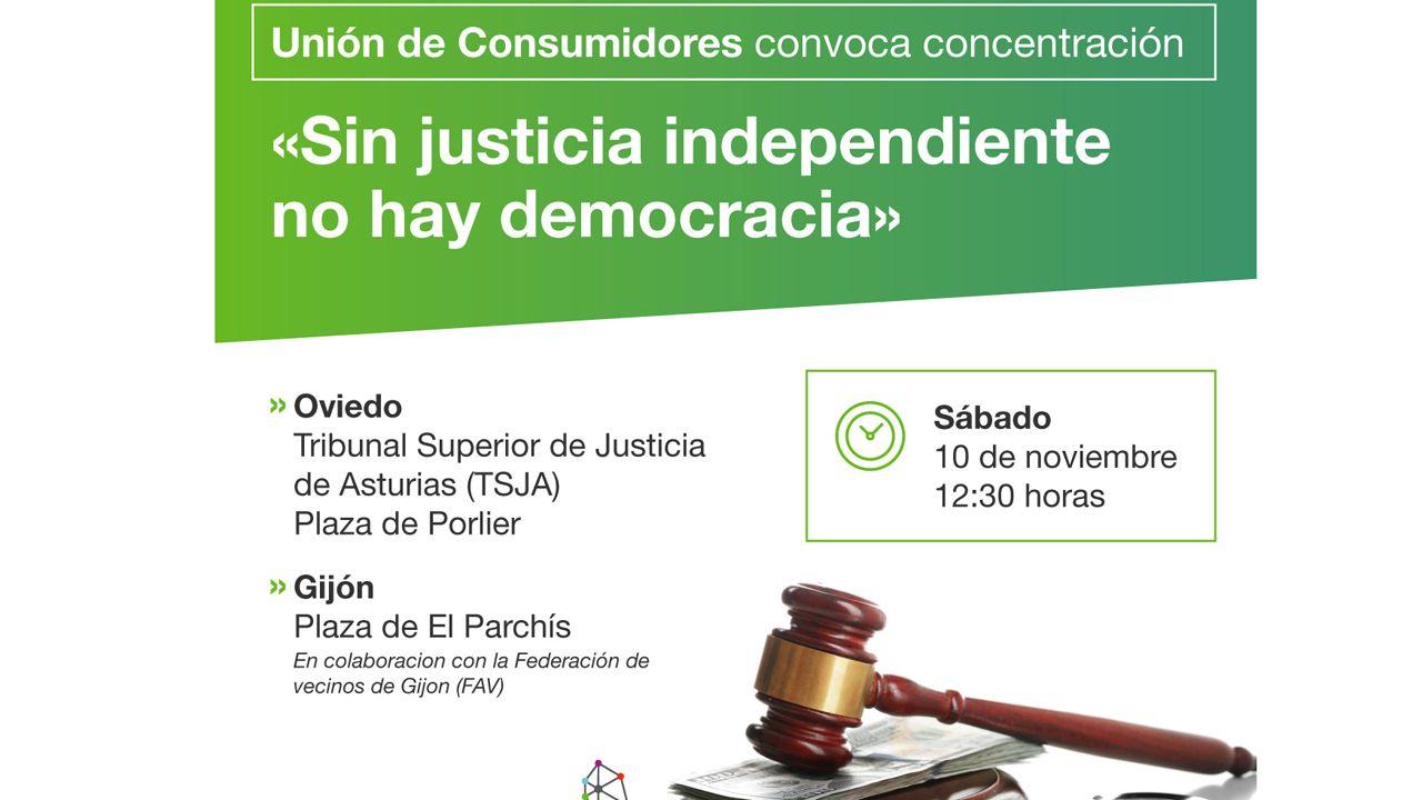 Cacerolada de hipotecados en los juzgados contra el Tribunal Supremo.Convocatoria de las concentraciones en Oviedo y Gijón contra la sentencia del Supremo por el impuesto de las hipotecas