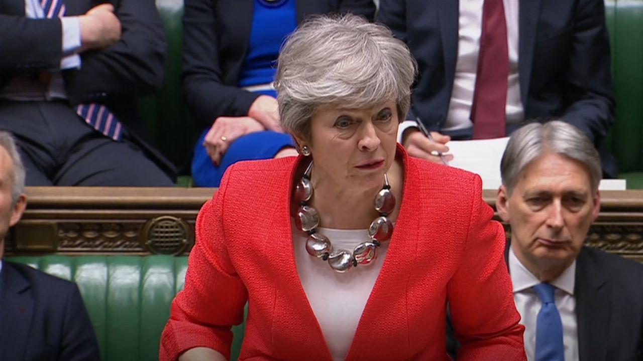 Theresa May, durante el debate de este martes en la Cámara de los Comunes