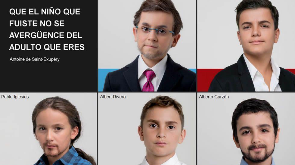Greenpeace convierte a los principales candidatos en niños.