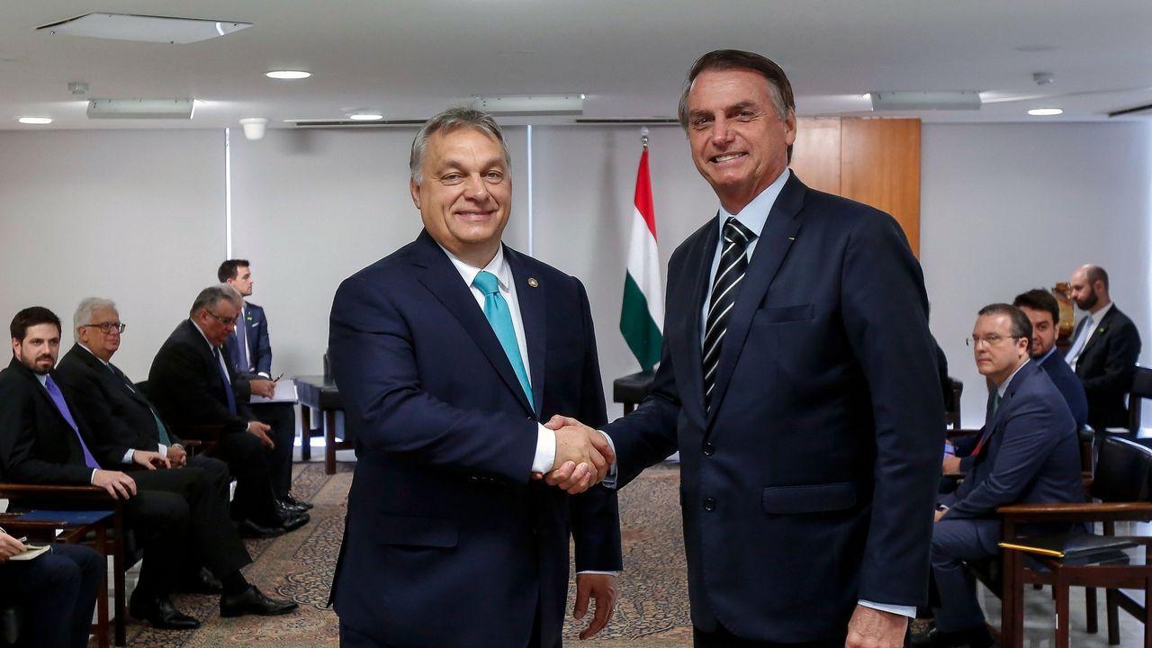 El primer ministro húngaro, Viktor Orban, con el presidente de Brasil, Jair Bolsonaro