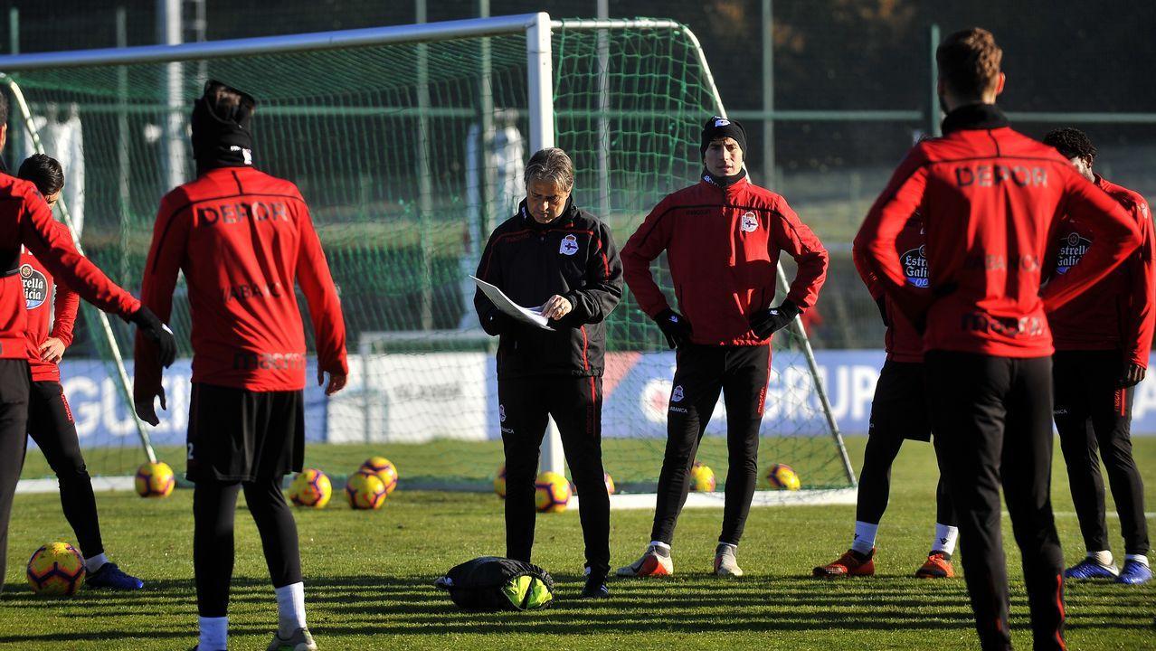 Entrenamiento del Deportivo bajo el sol de enero.Nahuel reforzó al Deportivo en el mercado de invierno