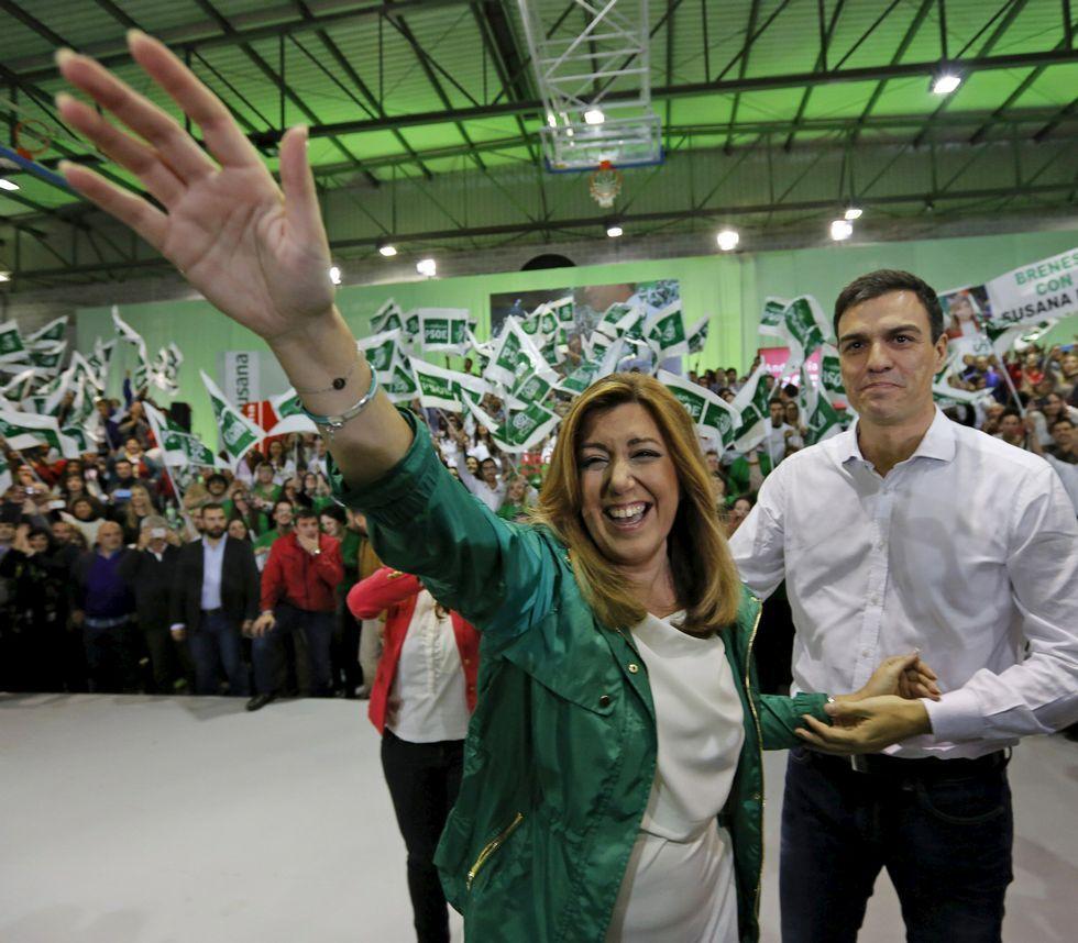La jornada electoral en Andalucía, en fotos.Susana Díaz acaparó todo el protagonismo y Pedro Sánchez quedó en segundo plano.