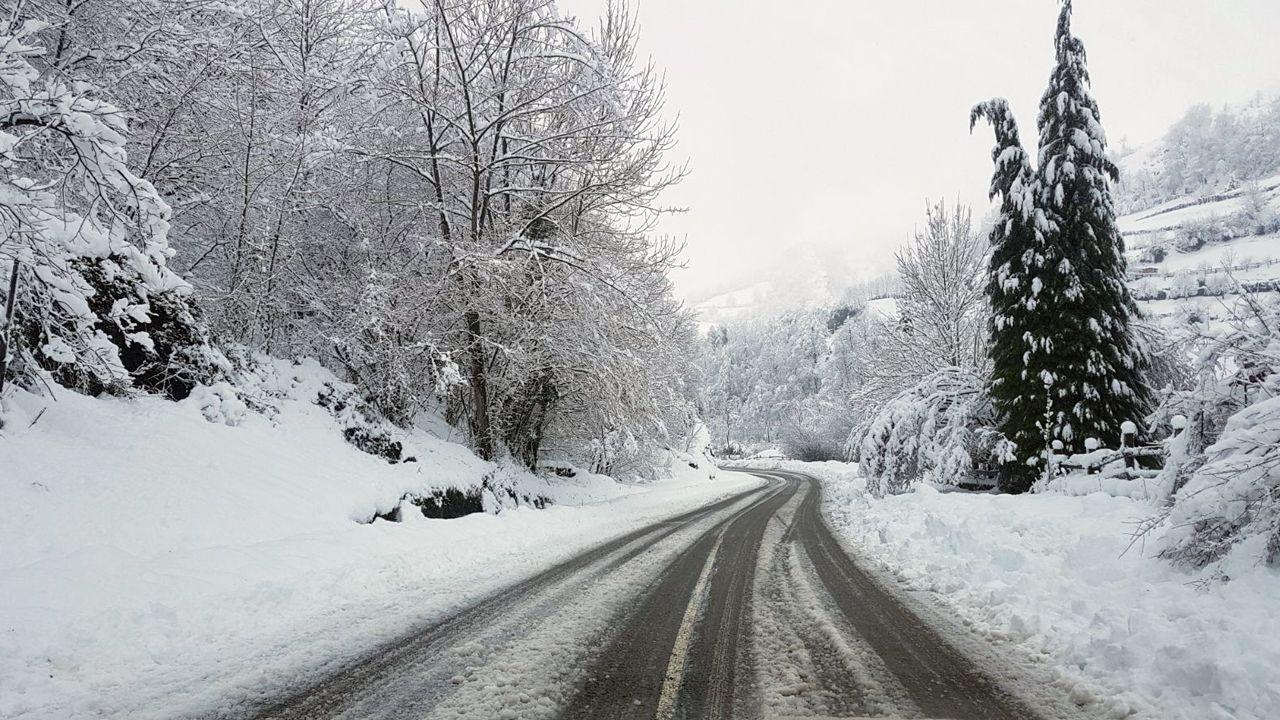 Estas son las imágenes del temporal.La nieve cubre el acceso al puerto San Isidro desde Asturias