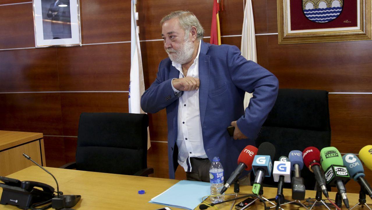 Julio Sacristan en la rueda de prensa de su despedida