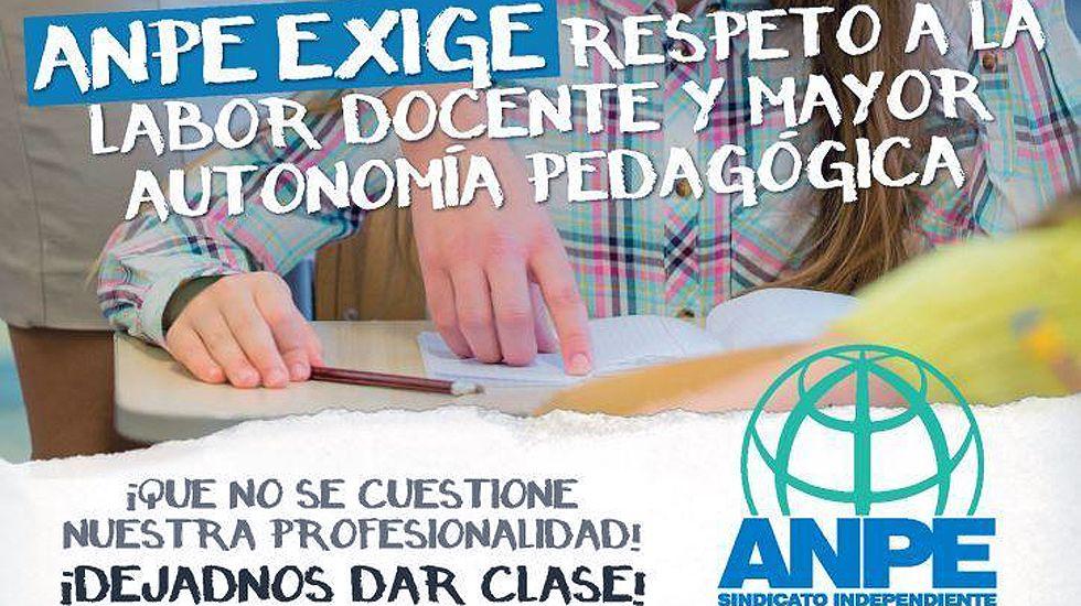Campaña de ANPE por la dignificación del profesorado y en contra de la huelga de deberes.Campaña de ANPE por la dignificación del profesorado y en contra de la huelga de deberes