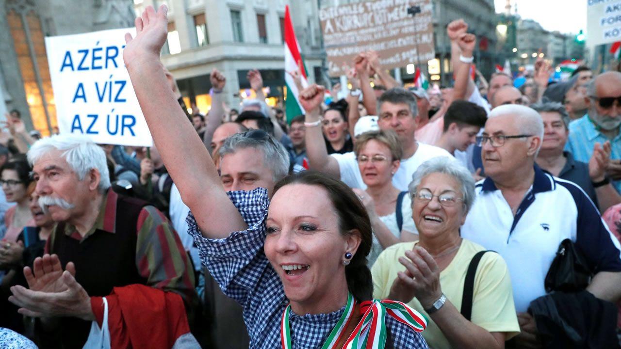 Una de las últimas manifestaciones contra Orban en Budapest el pasado abril
