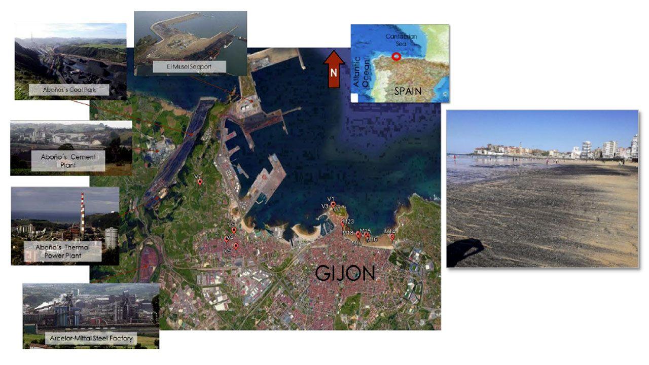 Nube de carbón en El Musel.Ilustración del trabajo sobre el impacto ambiental de las actividades carboneras en el litoral gijonés del INCAR