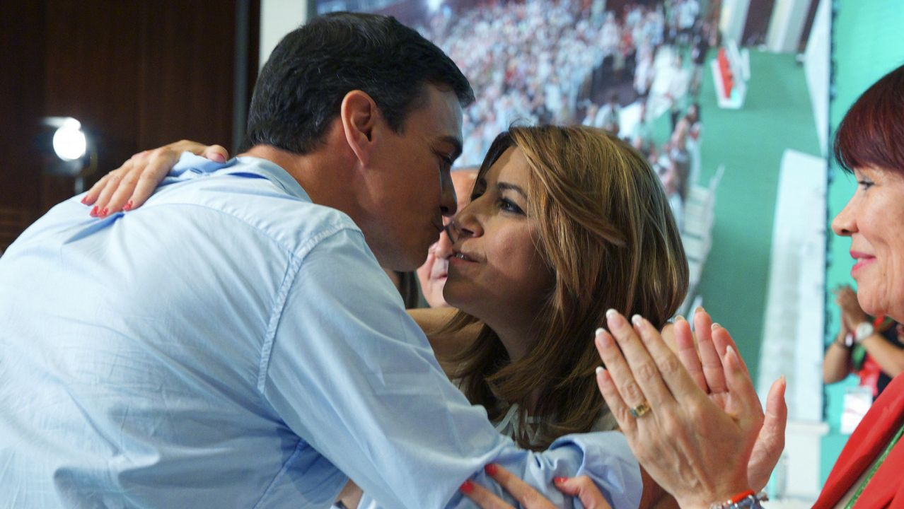 Susana Díaz pide a Pedro Sánchez que no le haga elegir entre el PSOE y Andalucía.Alfonso Guerra