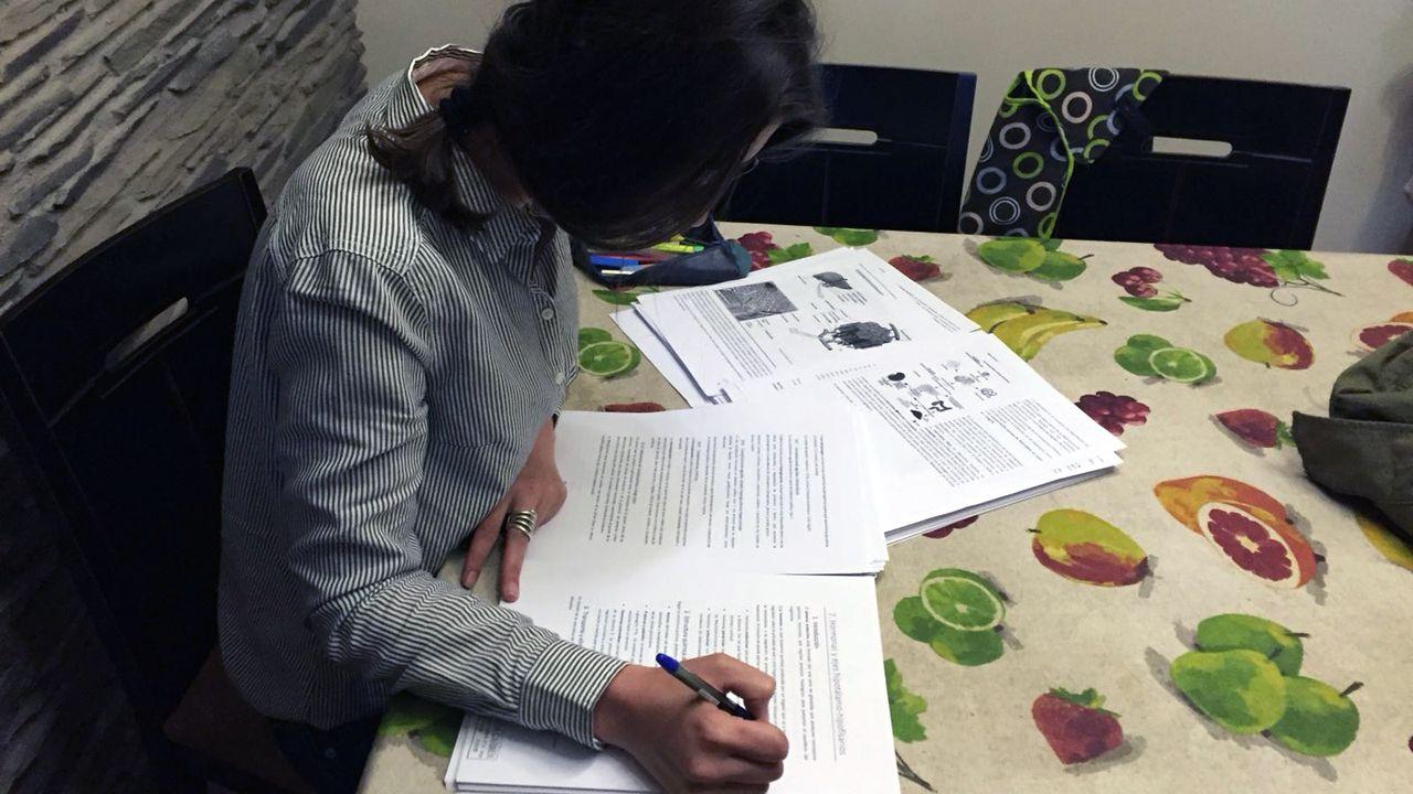 Alumnos, en una jornada de orientación de la Universidad de Oviedo.Laura Castellanos prepara, en el comedor de su casa, la última asignatura que le queda para terminar el grado de Biología