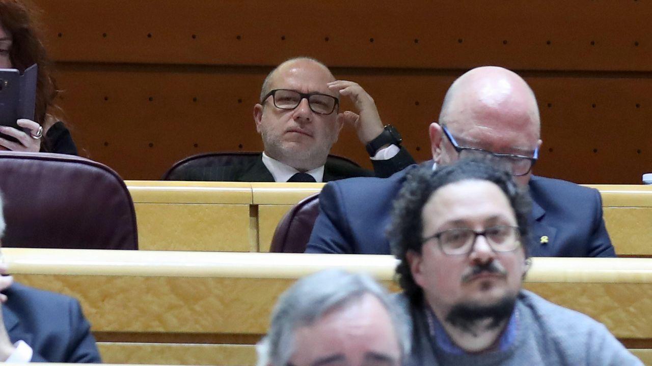 Alcaraz jura la Constitución en privado. Uno de los nueve senadores por designación del Parlamento andaluz, Francisco José Alcaraz, de Vox, en la imagen al fondo, se incorporó ayer a la Cámara Alta, pero no juró en público acatar la Carta Magna porque lo había hecho en privado, ante notario