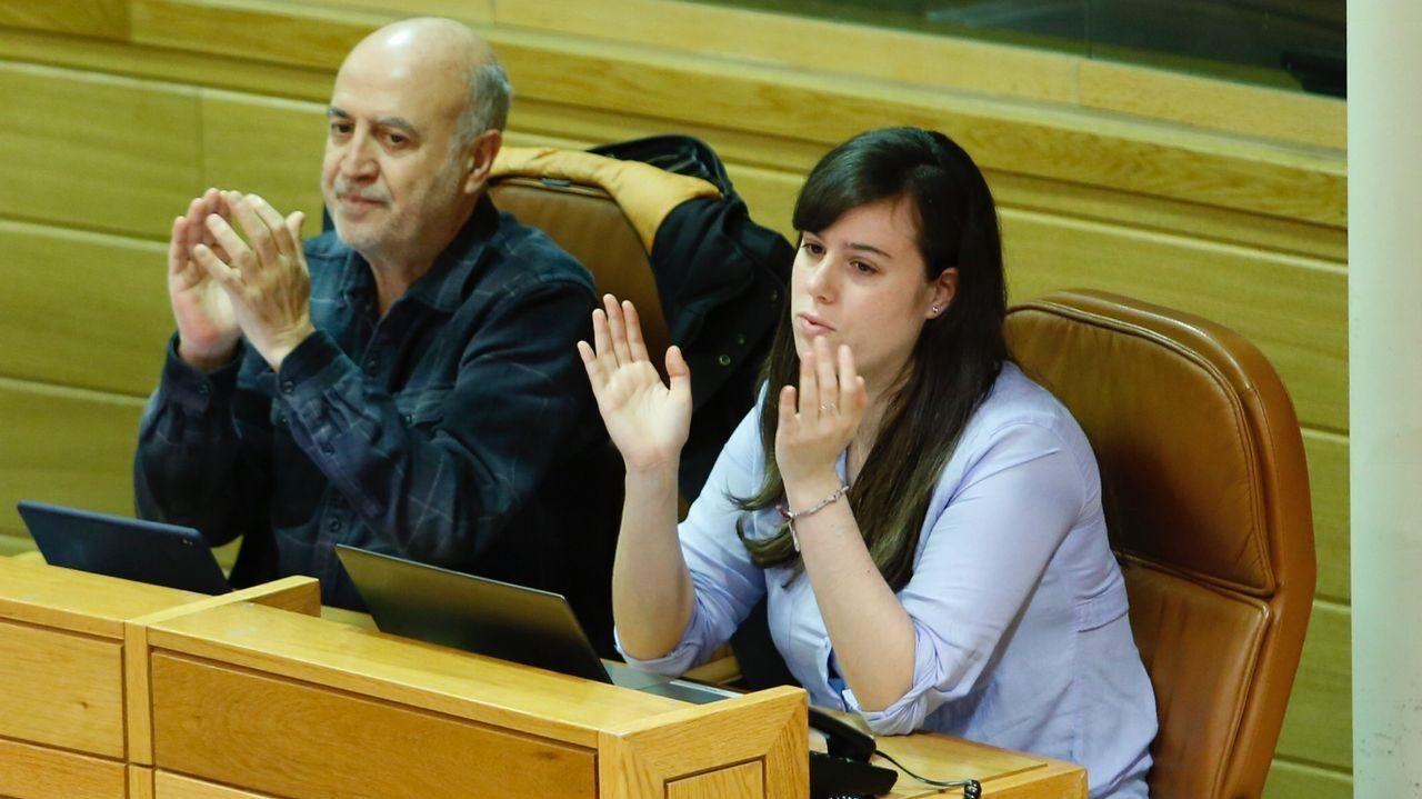 .La diputada de En Marea, Paula Quinteiro, esta mañana en el Parlamento