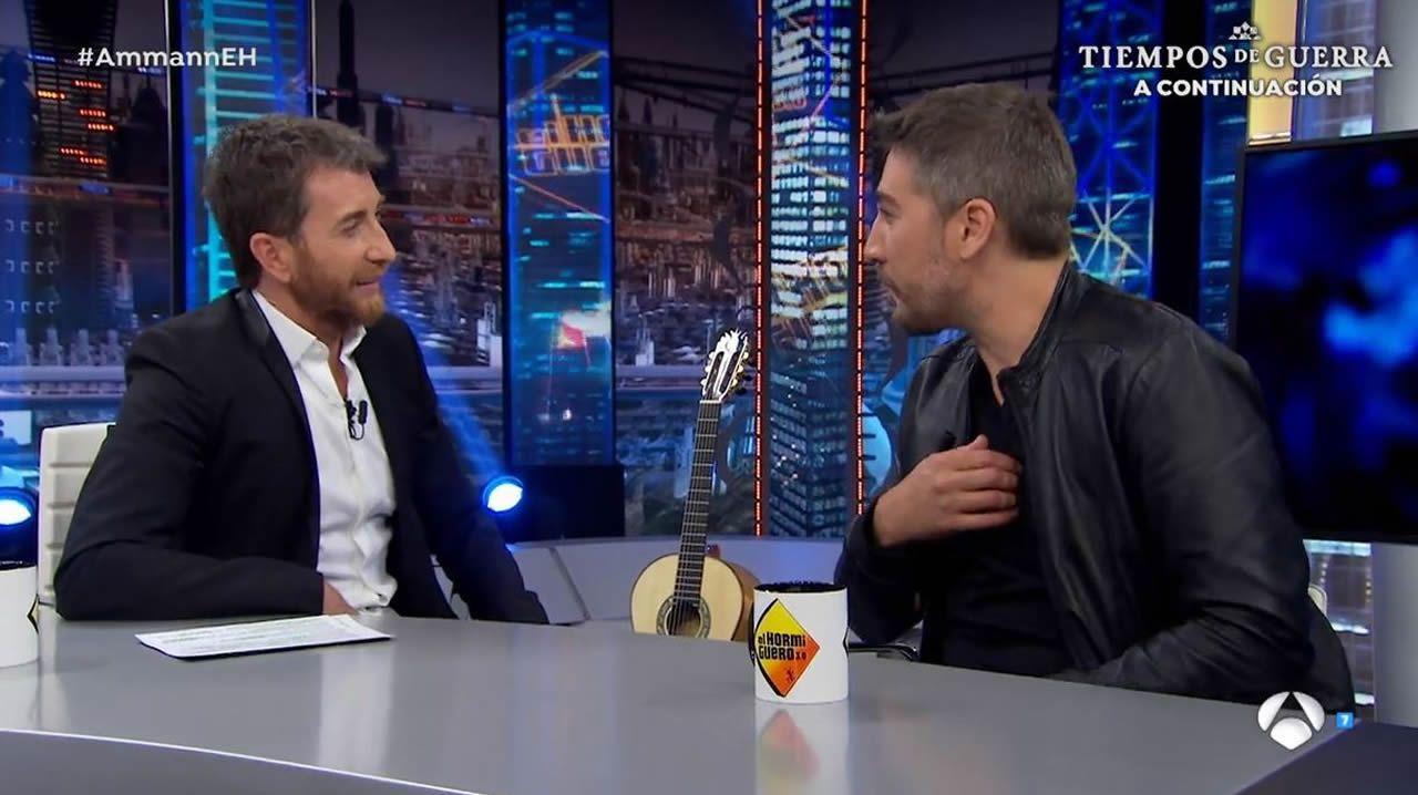 Dani Martin en la guillotina de «El Hormiguero».Imagen del programa  El Hormiguero 3.0  con José Sacristán