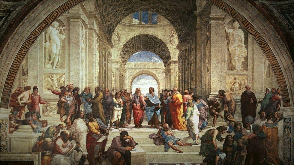 «La escuela de Atenas» (1510-1511). Pintura de Rafael Sanzio, en el Palacio Apostólico del Vaticano