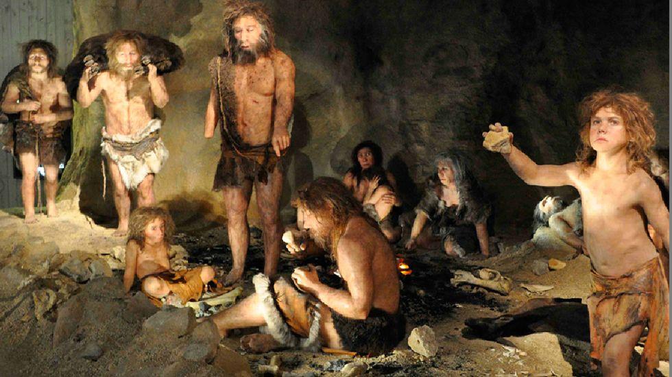 Recreación de un grupo de neandertales