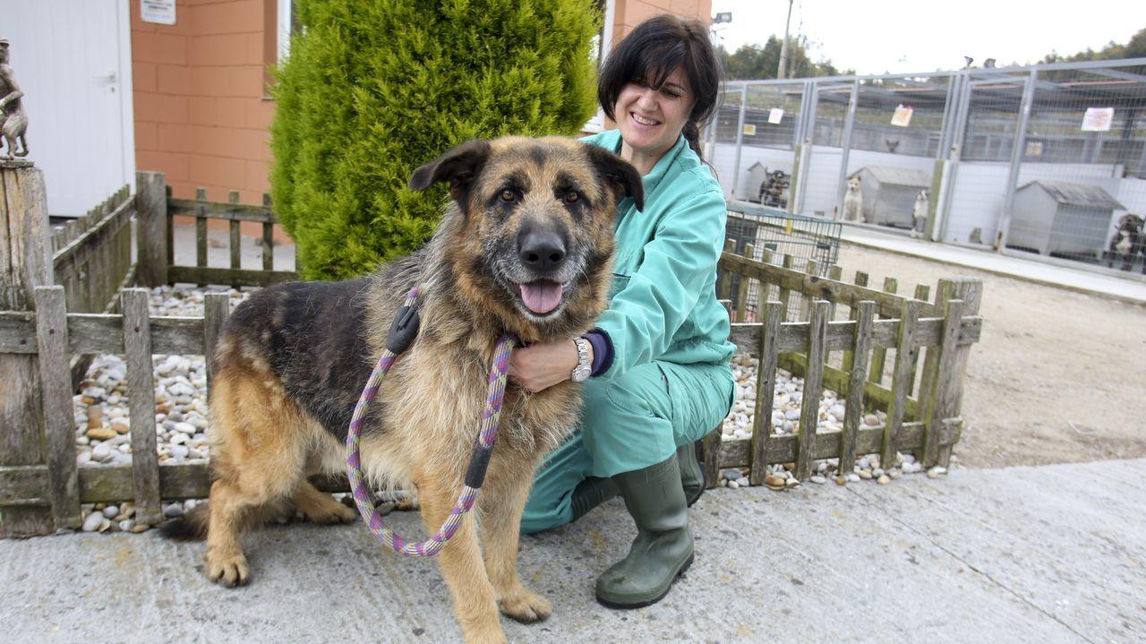 Camino Ferrero, la veterinaria, con Roi, el perro que lleva más tiempo en Mougá, adonde llegó en el 2017