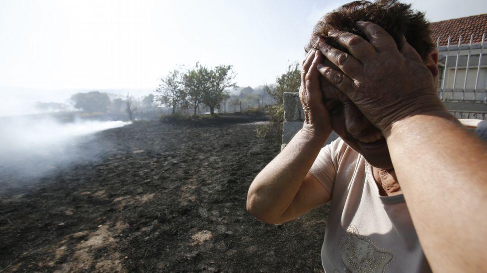 Los incendios arrinconaron la comarca de A Limia.El viento contribuyó a que se propagaran las llamas en el incendio de Castro de Beiro.