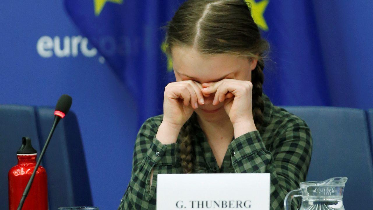 Greta Thunberg se emociona ante el Parlamento Europeo.Sanxenxo, esta mañana