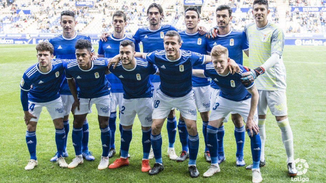 91 aniversario Real Oviedo Girona Carlos Tartiere.Alineación del Real Oviedo ante el Deportivo