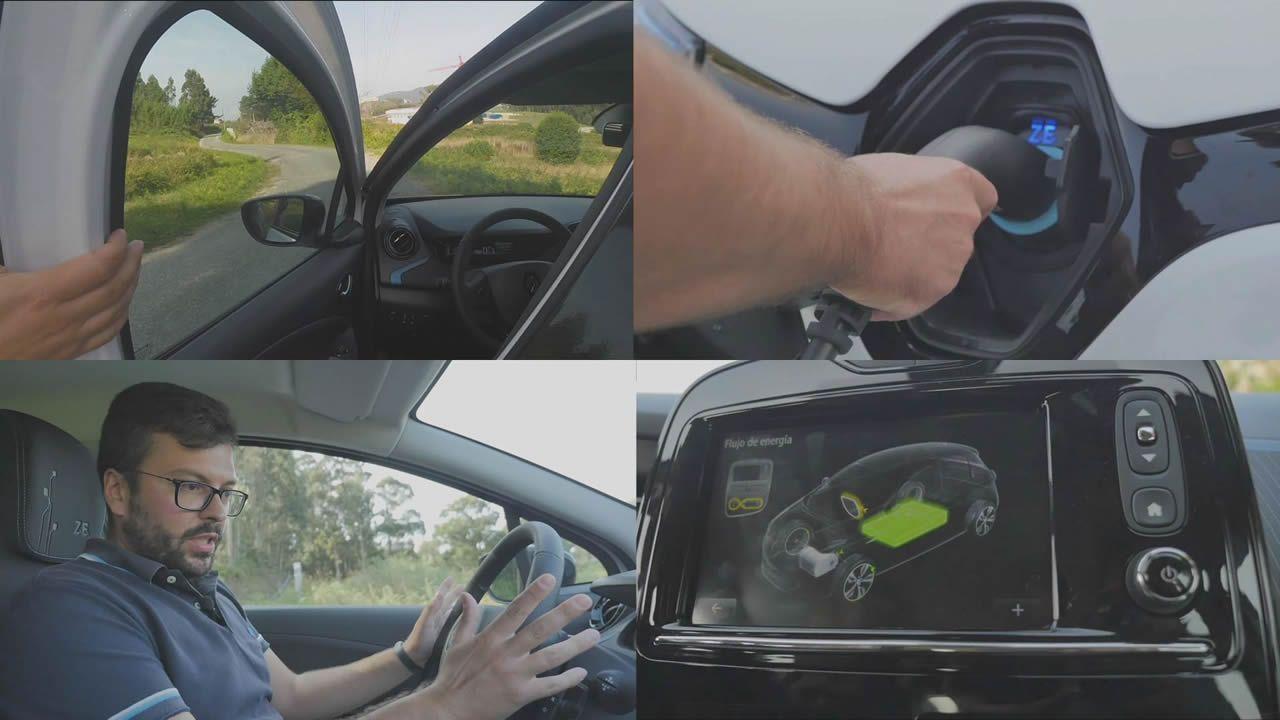Al volante de un eléctrico por primera vez.Carlo, peregrino italiano