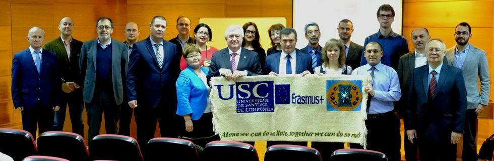 La iniciativa de «Pallasos en Rebeldía» con los refugiados de Idomeni.El rector Juan Viaño recibió a los participantes en este contacto, procedentes de países de Asia central.