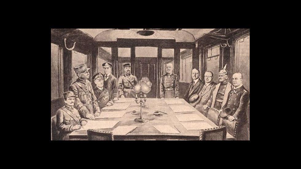Gravado da firma do armisticio no vagón de Compiègne o 11 de novembro de 1918
