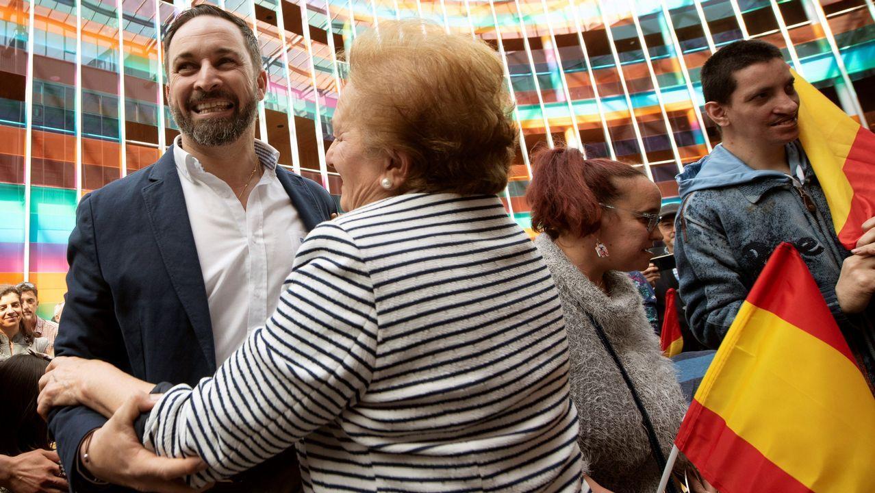 El candidato de Vox a la presidencia del Gobierno, Santiago Abascal, durante el mitin celebrado en Vitoria