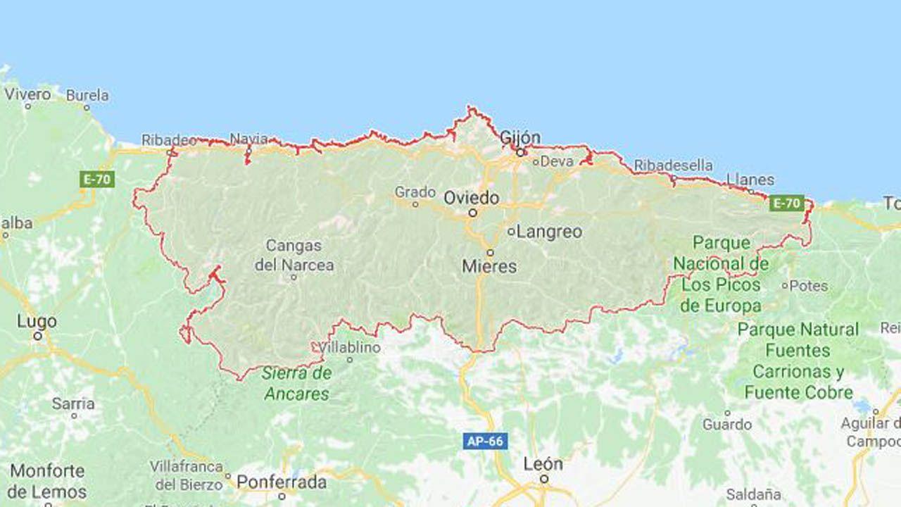 Seis recuerdos en forma de árbol.Mapa de Asturias