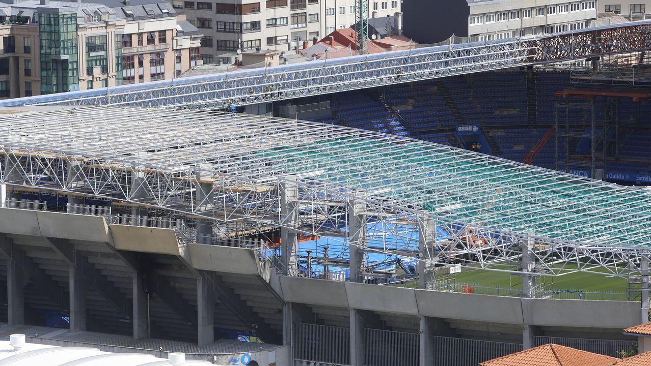 Así están las obras en el estadio de Riazor.